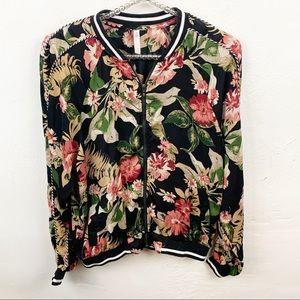 Xhilaration l Black Floral Zip Up Bomber Jacket